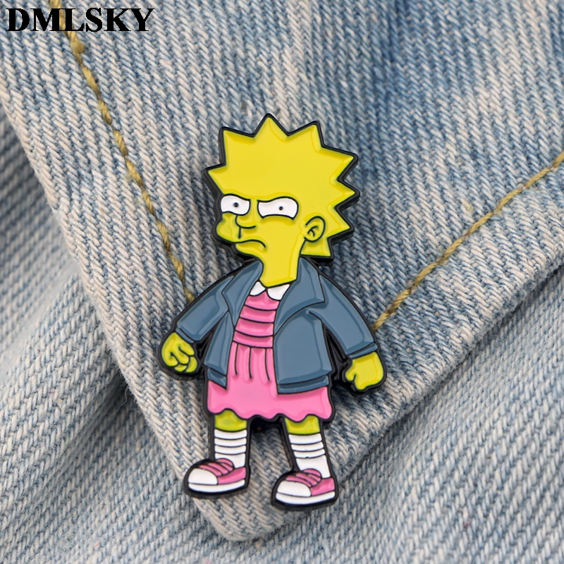 DMLSKY Cartoon brooches funny kids metal Pin Women Men clothes Backpack badge Personality Jewelry pins M3871