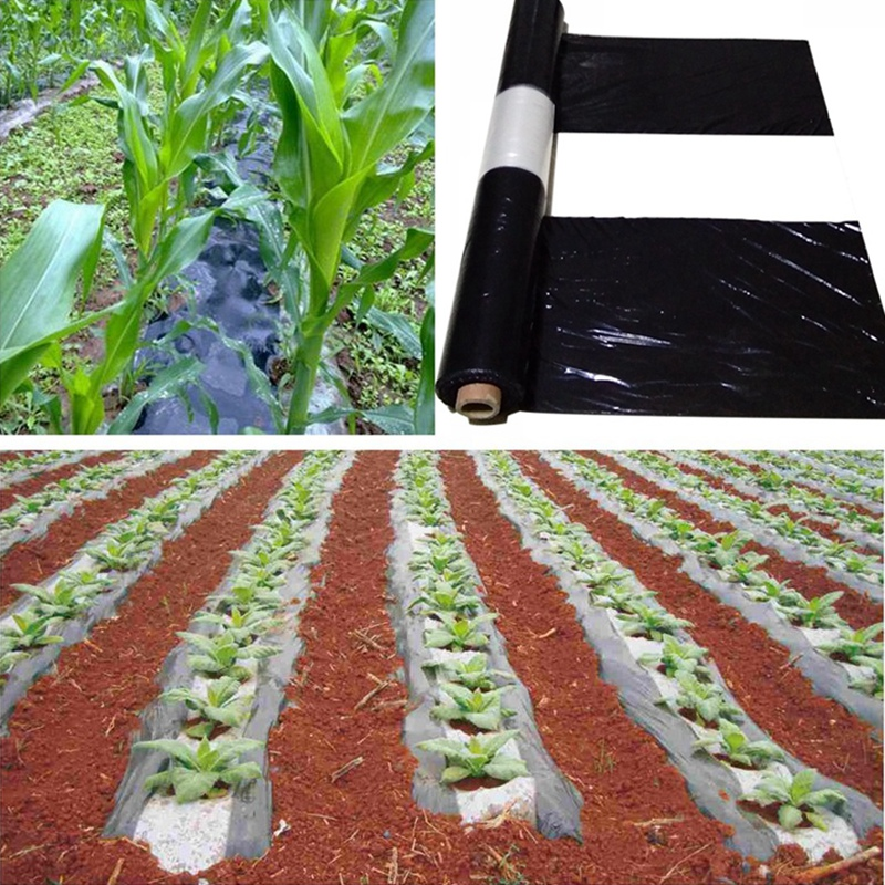 25m White+Black Agriculture Film Farm Garden Plastic Mulch Film Plants Cover Pest Weed Control Keep Warm Grow Film
