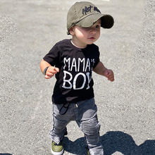 Casual Boys Clothes Kids Set 2Pcs Letter Print Short Sleeve Tops Tees+Black jeans 2-6 Years Toddler Boy D30