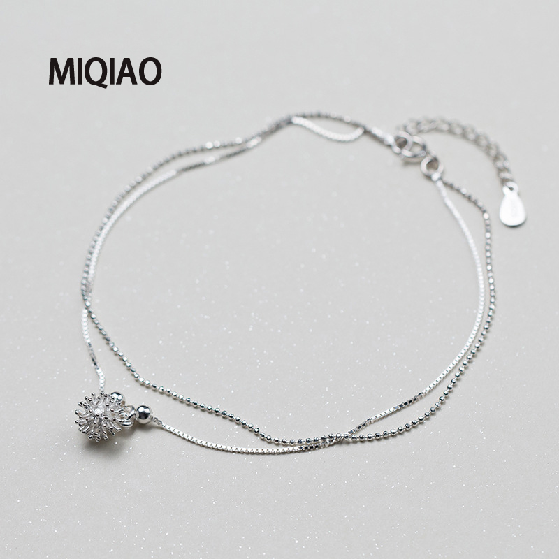 MIQIAO 925 Sterling Silver Flower Ankle Bracelet For Women Female Korean White Dandelion Sweet Foot Summer Jewelry Leg Chain