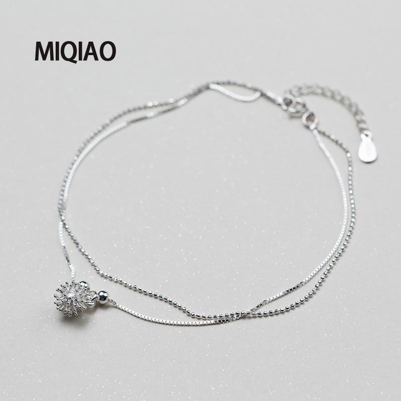 MIQIAO 925 Sterling Silver Flower Ankle Bracelet For Women Female Korean White Dandelion Sweet Foot Summer Jewelry Leg Chain