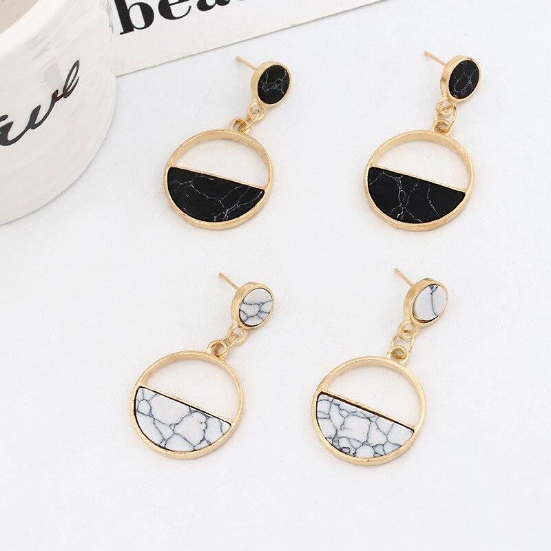 Simple Joker Earrings Black  Circle Stud Marble European and American New