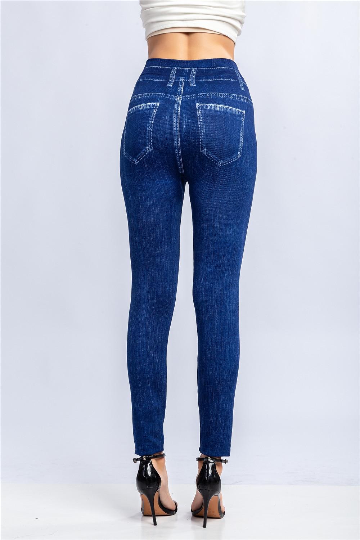Jeggings Jeans for Women High Waist Skinny striped Fake Denim Leggings Femme Push Up Pencil Pants Plus Size Stretchy Leggings Jeans Women Bottom ! Plus Size Women's Clothing & Accessories