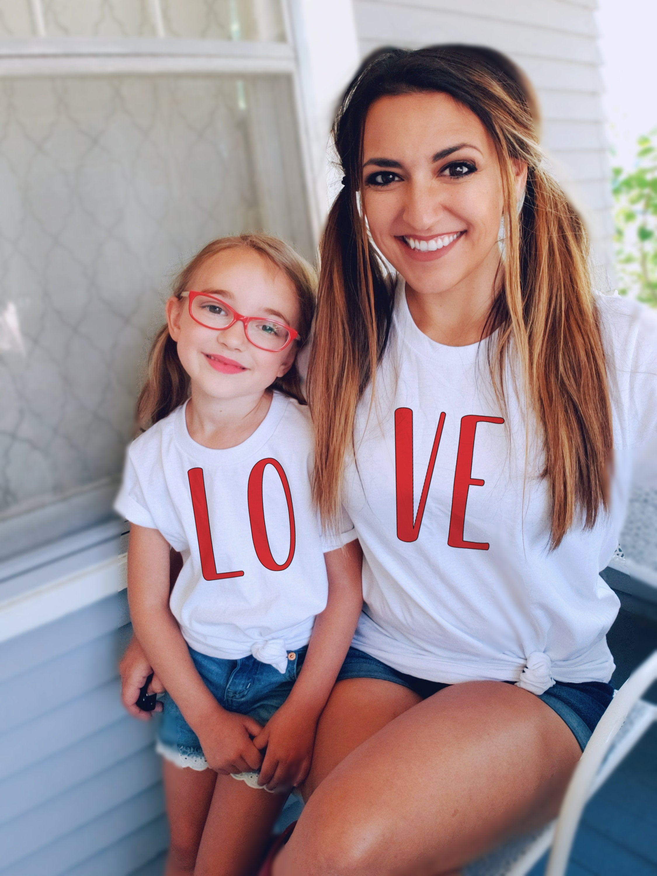 1PC Fashion Family Matching Clothes Short Sleeve Soft Mommy And Me Clothes LO&VE T-shirt Mother And Daughter Valentine Clothes