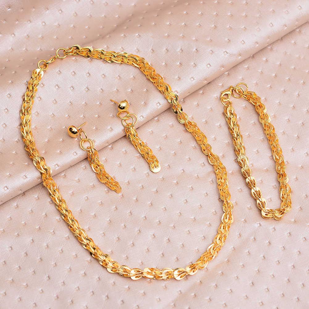 WANDO 24k Phoenix schwanz Schmuck sets Halskette Ohrringe, Gold Farbe Afrikanische Partei Schmuck, arabische Hochzeit Geschenke/Äthiopischen Neue Schmuck
