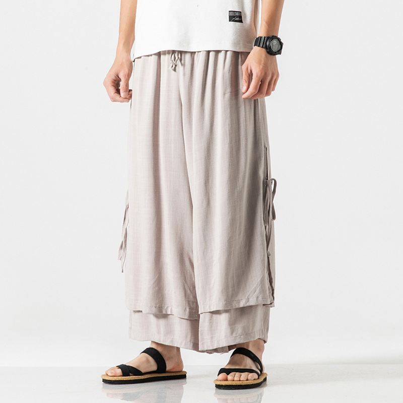 0724 Summer Double Layer Straight Cotton Linen Wide Leg Pants Men Big Size Japanese Streetwear Kimono Pants Mens Elastic Waist in Wide Leg Pants from Men 39 s Clothing