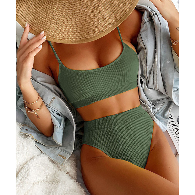 INGAGA High Waist Bikinis Swimwear Women Push Up Swimsuits Ribbed Bathing Suits High Cut Sexy Biquini 2021 Summer Beachwear 2