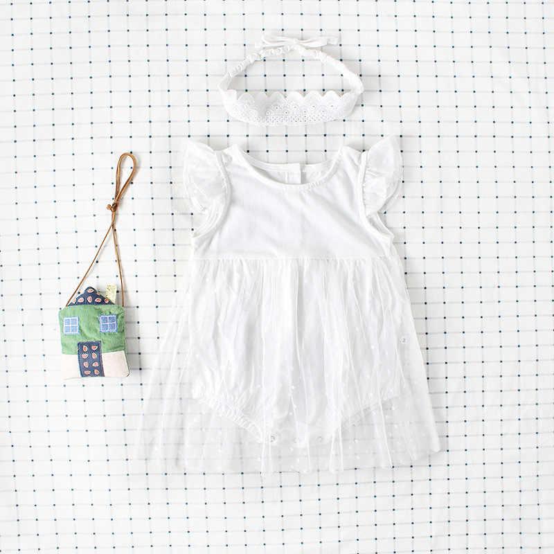 INS/летнее Сетчатое платье принцессы с рукавами крылышками одежда для ползания