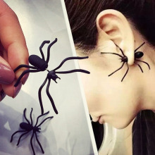 Punk Black Spider Earrings Halloween Animal Stud Vintage Fashion Jewelry Ear cuff Earring for Women brincos femme WD577