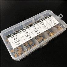 10 değerleri 100 adet 35V 0.47uF 1uF 2.2uF 3.3uF 4.7uF 6.8uF 10uF 22uF 33uF 47uF tantal kondansatör çeşitli kiti ile saklama kutusu