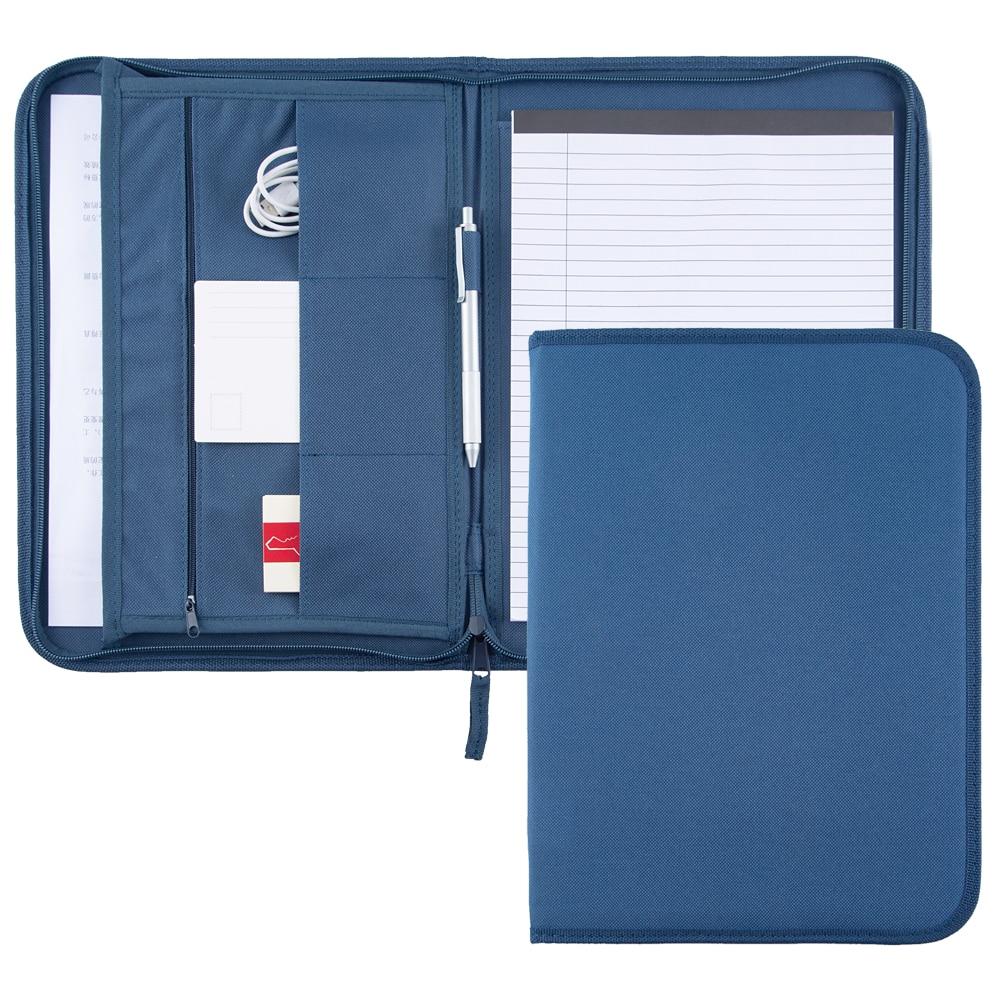 A4 Size Fabric Canvas Document Folder Bag Padfolio,Cheap Zipper Cloth Folder Canvas Bag Unique Resume Folder,Blue Cover Folder
