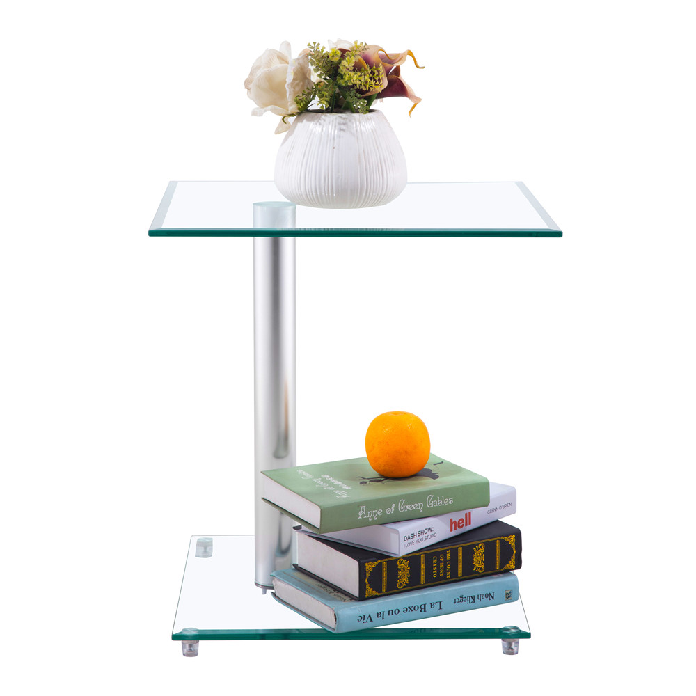 Home Side Tables Furniture Clear Glass End Table Living Room Table 2 Tier Square Glass Minimalist Office Magazine Storage Shelf - 2