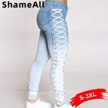 Pencil Jeans Plus-Size Lace-Up Denim Pant Streetwear Push-Up Cross Blue White Club Mom