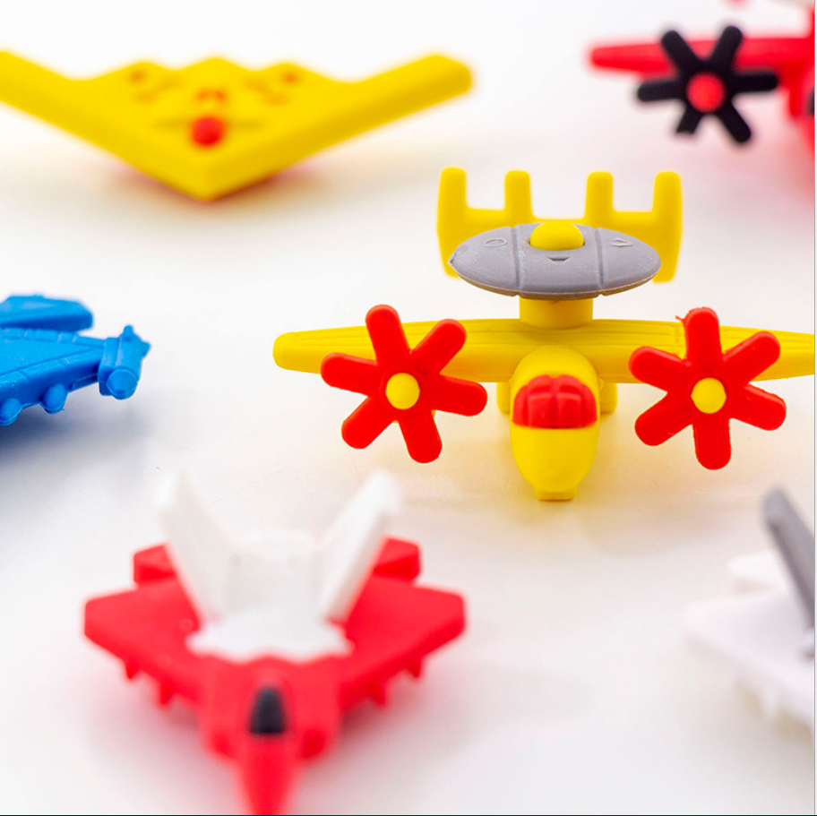 Cute Cartoon Airplane Pencil Eraser Stationary School Supplies Kawaii Rubber Item Aeroplane Students Prize Gift For Boys