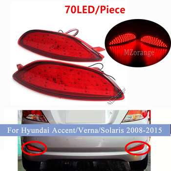 1 Pair LED Rear Bumper Reflector Brake Light For Hyundai Accent/Verna/Solaris 2008-2015 For Brio Car parts Tail Stop lamp