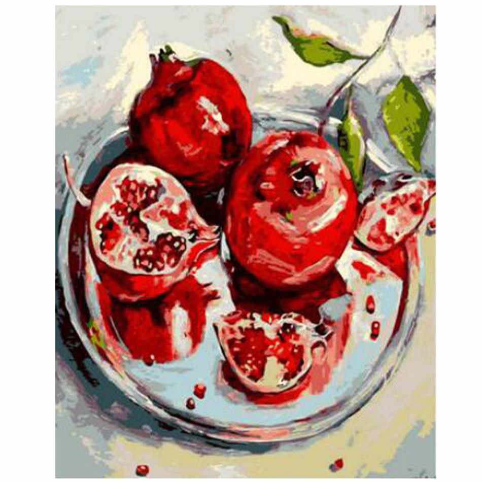 WEEN Red Pomegranate Fruit-DIY Painting By Numbers Kit,Acrylic Paint,Wall Art Picture,Hand Painted Oil Canvas Painting 40x50cm