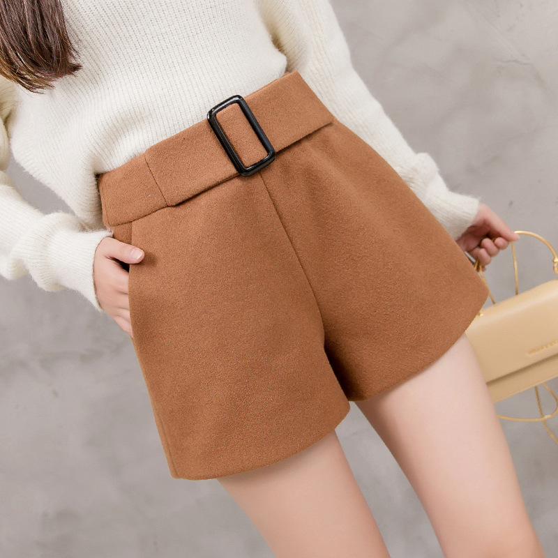 S-2xl Wool Booty Shorts Female Autumn Winter 2019 High-waist Loose Thickened Black Shorts Women Plus Size Ladies Shorts Woman