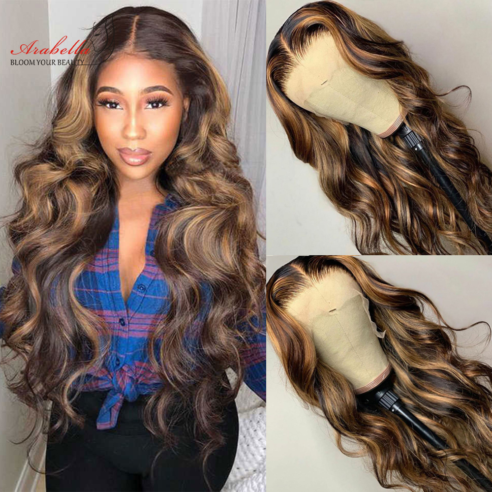 Deep Wave Wig Blonde Streaks  Wigs 13*4 Lace Front Wig With Baby Hair Arabella  Glueless Lace Front Highlight Wig 1