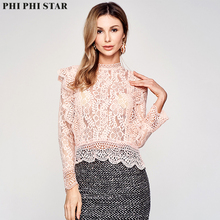 Phi Phi Star Brand Italian Hot sale autumn lace top mesh blouse Long sleeve high neck ladies See Through flounce Shirt цена 2017
