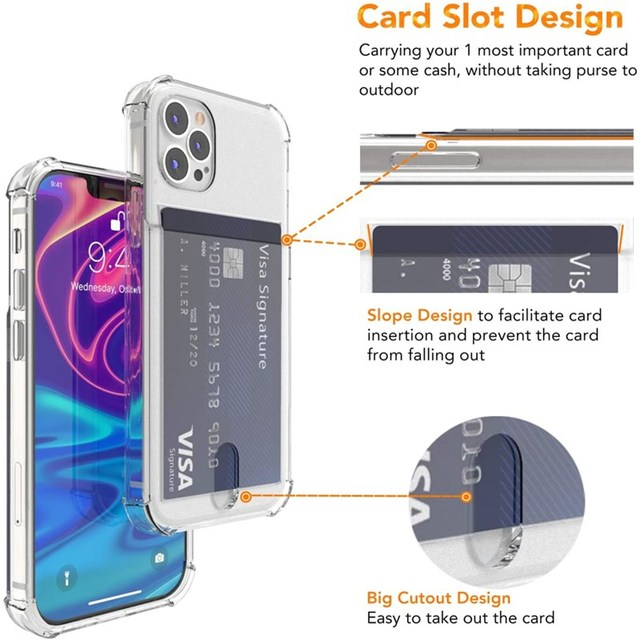 Shockproof Transparent Phone Case For iPhone 12Mini 12 11 Pro Max X XS XR 7 8 Plus SE 2 Soft Silicone Wallet Cover Card Holder 2