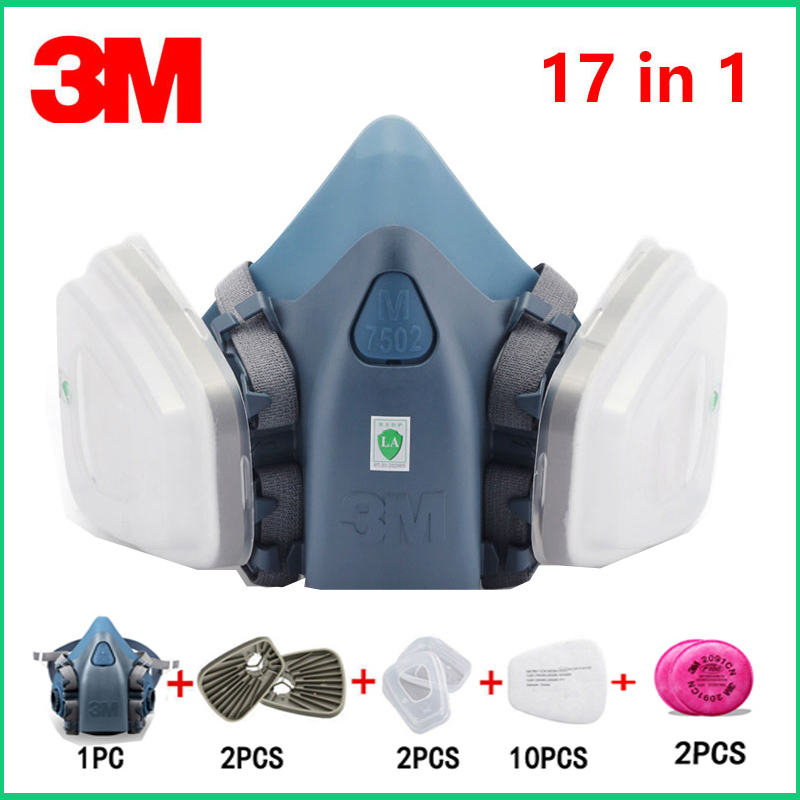 17 In 1 3M 7502 Gas Mask Half Face Respirator Spray Painting Protection Respirator Dust Mask With 2091 Fiter/603/5N11