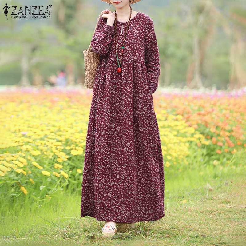 Vintage Women's Printed Dress 2021 ZANZEA Spring Sundress Casual Long Sleeve Maxi Vestidos Female Floral Hollow Robe Oversized