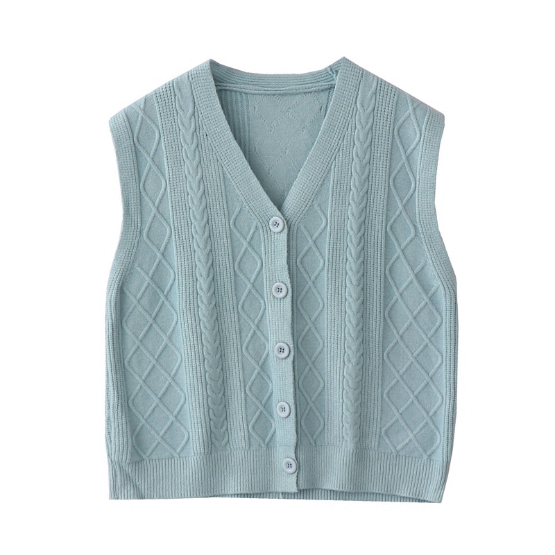 2019 Autumn New Korean Sen Retro Twisted Knit Vest Women's Single-breasted Loose Sleeveless Sweater Vest