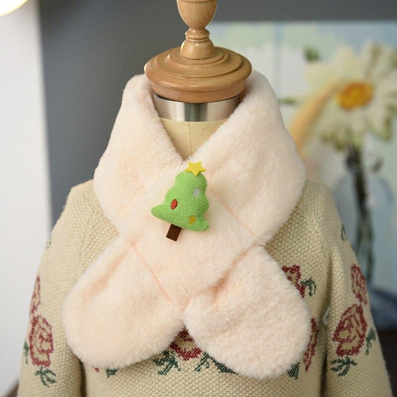 New Style Children Christmas Tree Cute Cartoon Scarf Autumn & Winter Baby Imitation Rabbit Fur Scarf Thick Plush Scarf