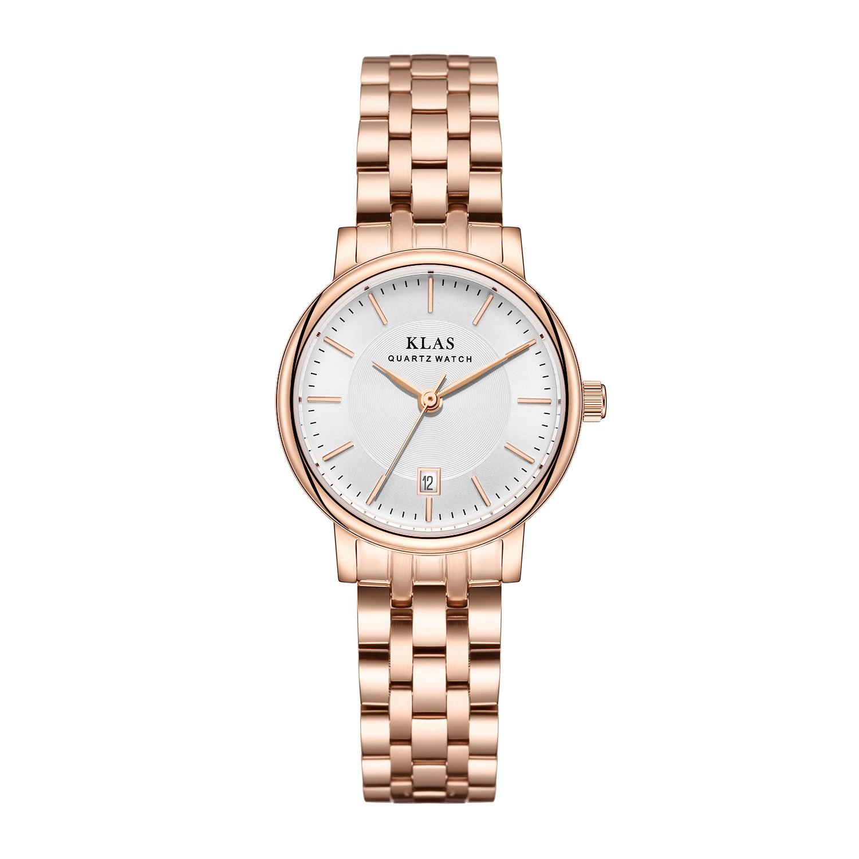 Klas marca de luxo relógios quartzo feminino