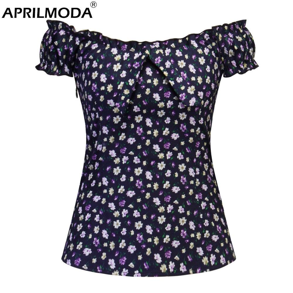 Floral Women Blouses Cotton Vintage Shirt Gothic Short Sleeve Top Women Slash Neck Blusas Formal Female Clothing Plus Size Tops