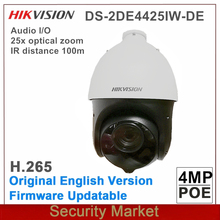 Original hikvision English PTZ DS 2DE4425IW DE 4 inch 4MP IR surveillance 25X Powered by darkfighter IR Network POE Speed Dome