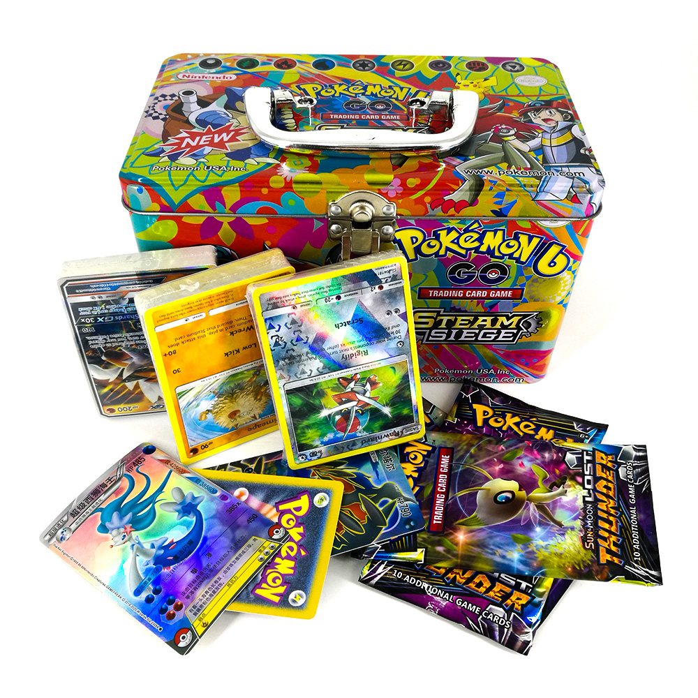 Takara Tomy Pokemon Card Metal Box Table Card Game MEGA Trainer Energy Collections Board Cards Battle Toys 153cards For Children