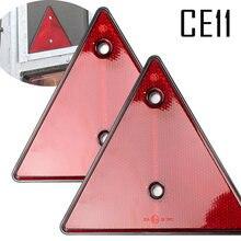 2x vermelho refletores traseiros triângulo reflexivo para postos de porta refletores de segurança parafuso apto para reboque motocicleta caravana caminhão barco