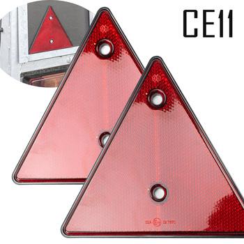 2X czerwone tylne reflektory trójkąt odblaskowe dla bramek słupki odblaskowe śruba pasuje do przyczepy motocykl ciężarówka przyczepa łódź tanie i dobre opinie CN (pochodzenie)