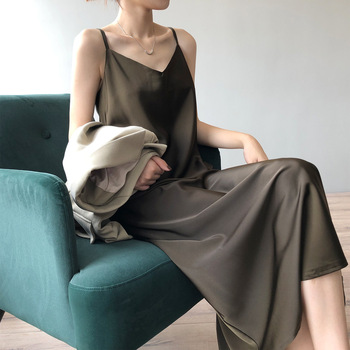 Women's Fashion High Quality Summer Dress Sexy Spaghetti Strap Satin Long Woman Dress V-neck Elegant Bodycon Party Dresses 1