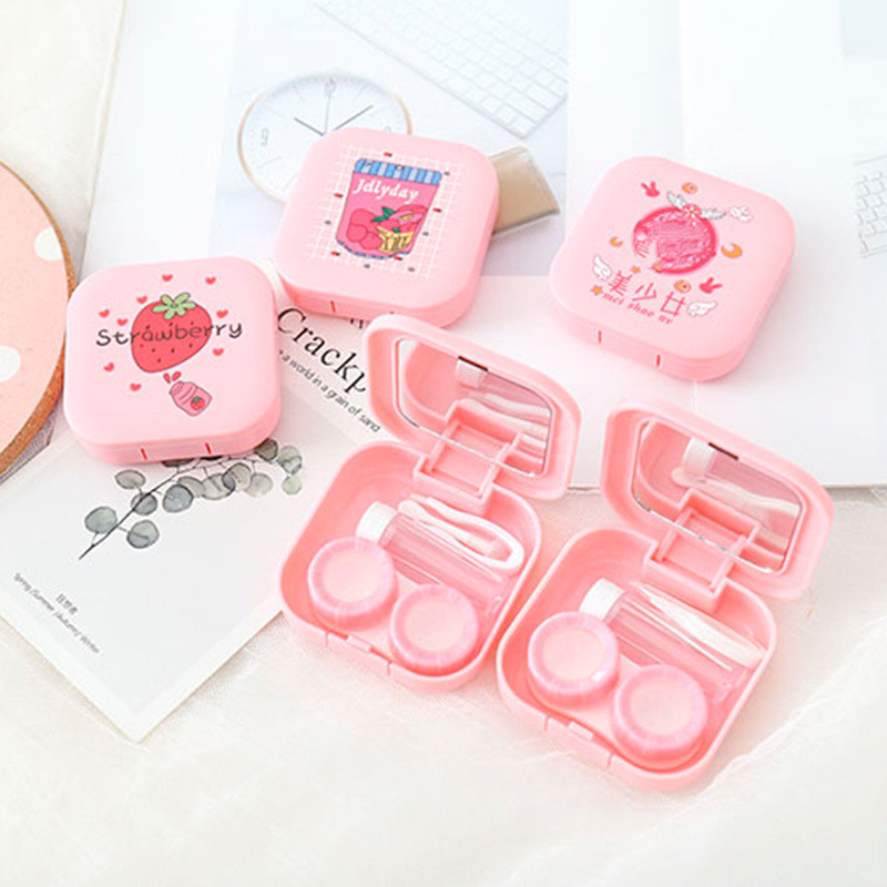 1PC Cute Unisex Cartoon Travel Contact Lens Case Pink Color Companion Box Contact Lenses Box Container Eyes Care Kit Holder