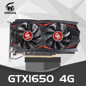 VEINEDA tarjeta gráfica gtx 1650 4GB 128 poco GDDR5 GPU NVIDIA TU117 12nm HDMI DVI 8000MHz 1485MHz para nVIDIA Geforce GTX 1650 VGA
