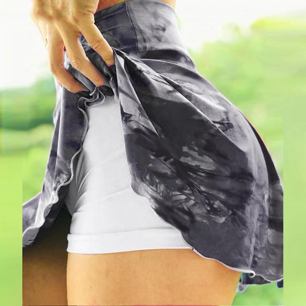 Gym Women Running Shorts High Waist Print New Mesh Double Layer Patchwork Fitness Sports Short Skirt