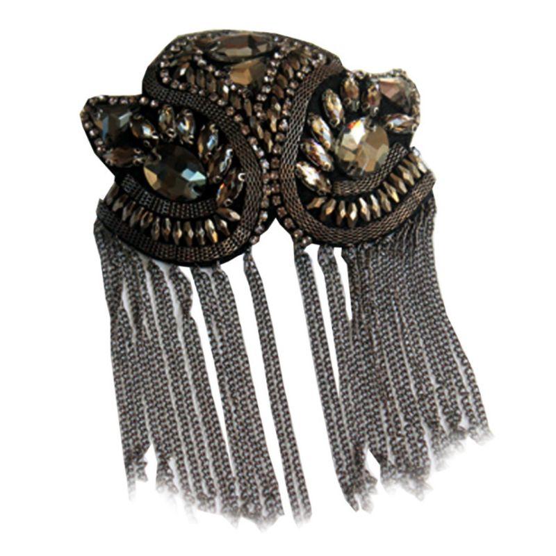 Women Kids Handmade Shoulder Badge Rhinestone Beaded Metal Tassels Epaulettes Q1FA