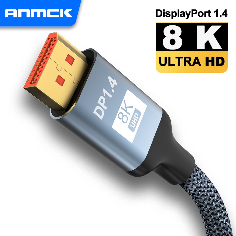 8K Displayport Cable,Anmck Bidirectional Steady Transmission DP to DP 1.4 8K@60Hz Cable UHD Nylon Braided Display Port Lead