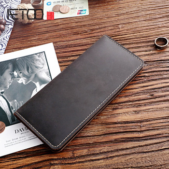 AETOO Vintage Mad Horse Leather Men's Wallet, Leather Long Wallet, Youth Vertical Men's Bag фото