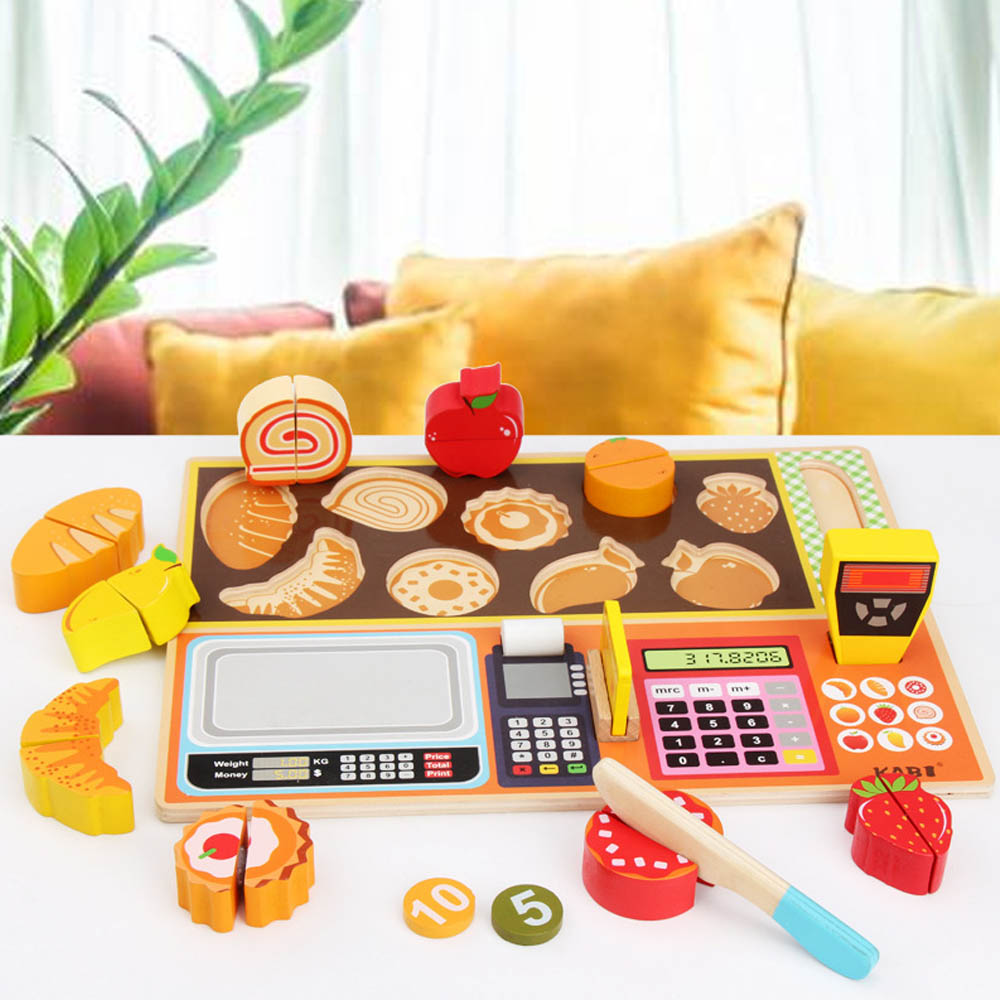 Kids Kitchen Pretend Play Toys Children Simulation Cut Fruit Cash Register Set Baby Grasping Training Toy Girls Christmas Gift
