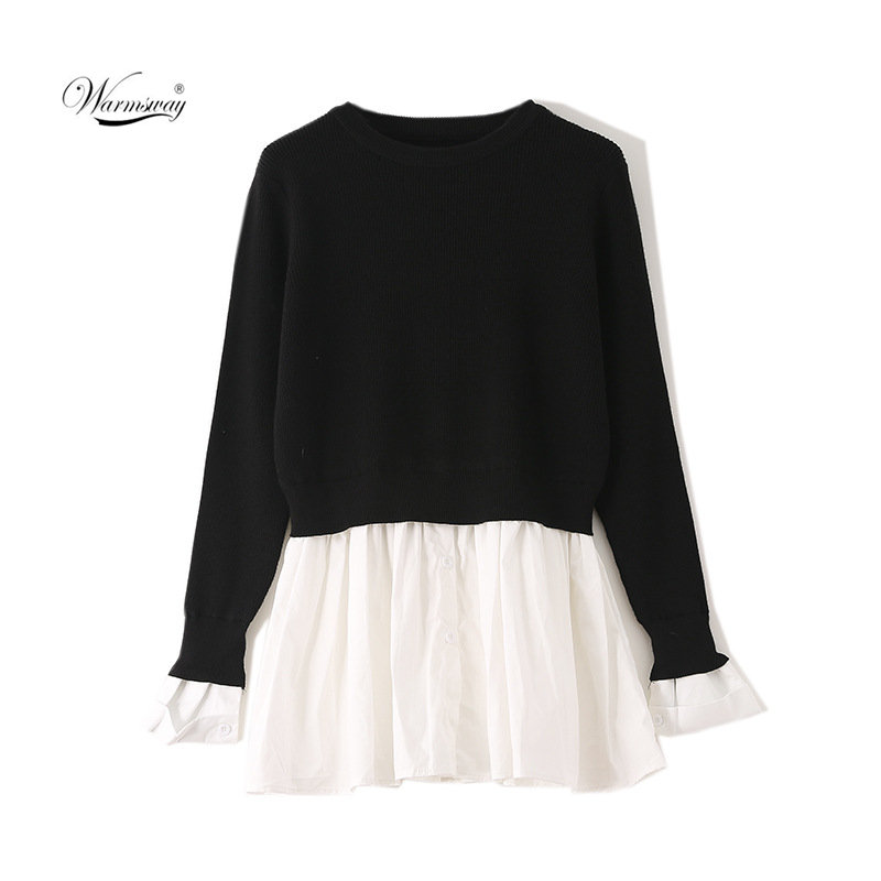 Spring Autumn Black Knitted Sweater Patchwork Basic Long Sleeve O-Neck Women Jumper Sexy Casual Tops CY-084