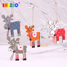 Deer Christmas Decoration For New Year Christmas Decorations For Home Table Wooden Christmas Decorations Reindeer(China)