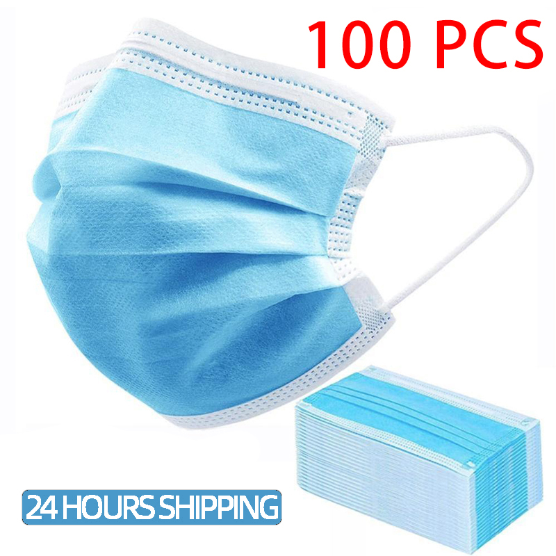 Disposable Mouth Mask Blue Universal NonWoven Ear Hook Face Mask 3 Layer 50-100pcs  Filter Dust Disposable Mask Dust Smoke