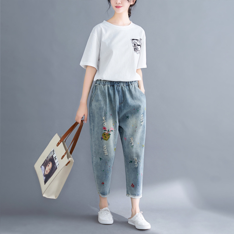 Photo Shoot 2019 Summer New Style Loose And Plus-sized Literature And Art Embroidery Jeans Elastic Waist 9 Points Harem Pants