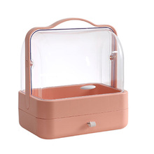 Clamshell Portable Cosmetic Storage Box Transparent Dust-Proof Drawer C