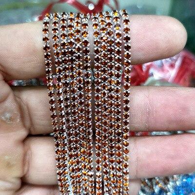 1 ярд/шт, 30 цветов, стеклянные хрустальные стразы на цепочке, Серебряное дно, Пришивные цепочки для рукоделия, украшения сумок для одежды - Цвет: Deep coffee