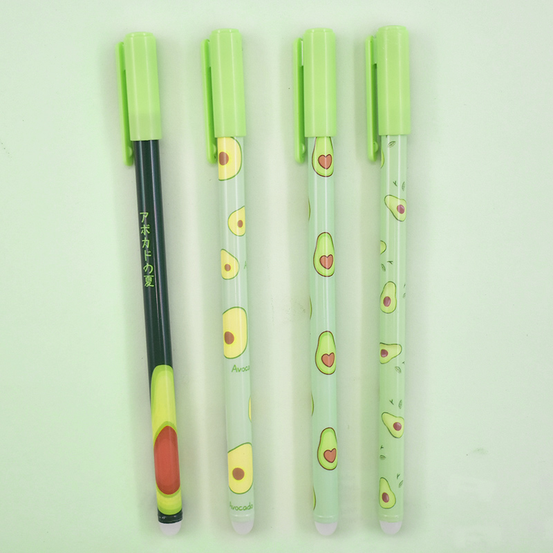 1Pc Cute Avocado Erasable Pen Kawaii Fruit Erasable Gel Pen Novelty Washable Magical Pen For Kids Gifts School Office Stationery