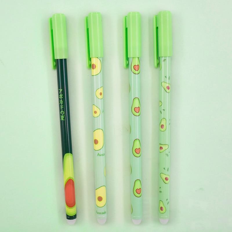 1Pc Cute Avocado Erasable Pen Kawaii Fruit Erasable Gel Pen Novelty Washable Magical Pen For Kids Gifts School Office Stationery